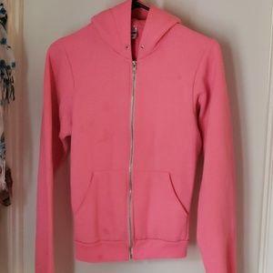 American apparel neon pink hoodie